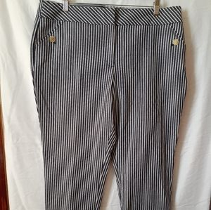 Anne Klein blue & white striped slim ankle pants